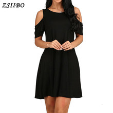 51a25c755 ZSIIBO Ucrania moda Sexy A-Line sólido negro vestido de verano mujeres Boho  partido y Playa Mujeres Vestidos más tamaño gota nav.