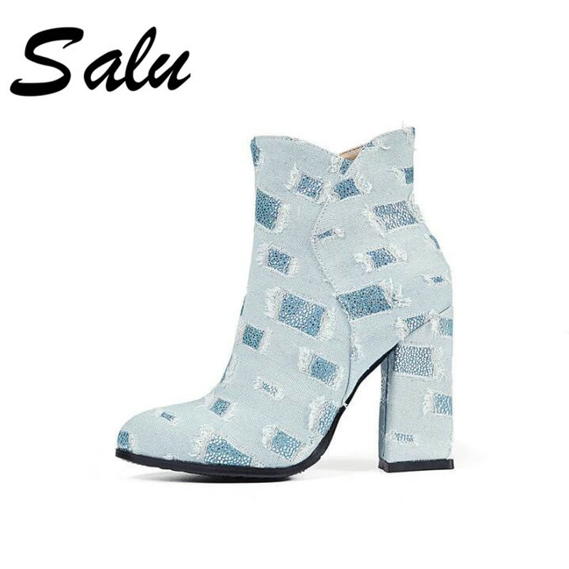 Salu 2018 new Genuine Leather Botas Square Heel Round Toe Shoes Women Leather woman Ankle Boot