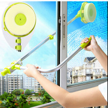 Glass Window Cleaning Tool Retractable Pole Clean Window Device Dust brush washing Double Faced Glass Scraper Wipe cleaner brush