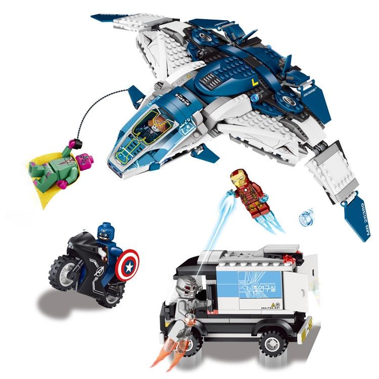 753Pcs Superheroes The Quinjet City Chase Model Building Kits Minifigure Iron Man Blocks Bricks Educational Toy lepin C0A683