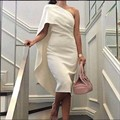 MGS New Charming One Shoulder Sleeveless Satin Cocktail Dresses 2016 Mermaid Tea Length Prom Gowns Vestido De Festa Curto