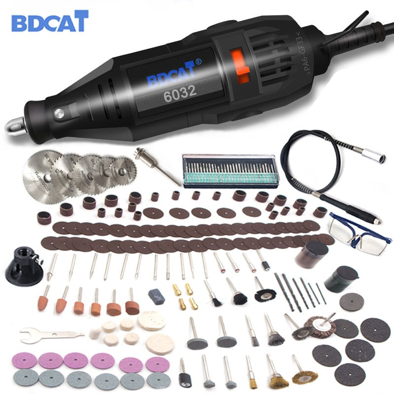 BDCAT 180w Dremel Electric Rotary Grinder Tool Mini Drill Grinding Engraving Polishing Machine With 207pcs Power Tools Accessory
