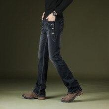 ICPANS Çizme Kesim Kot Pantolon Alevlendi Erkekler Vintage Streç Düzenli Fit Kot Erkek Rahat Erkek BootCut Kot Erkek Pantolon 2019 Moda mavi