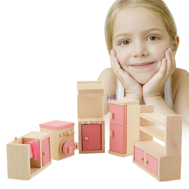 Baby Wooden Doll Bathroom Furniture Kitchen house Miniature For Kids Children Play Toy Gift