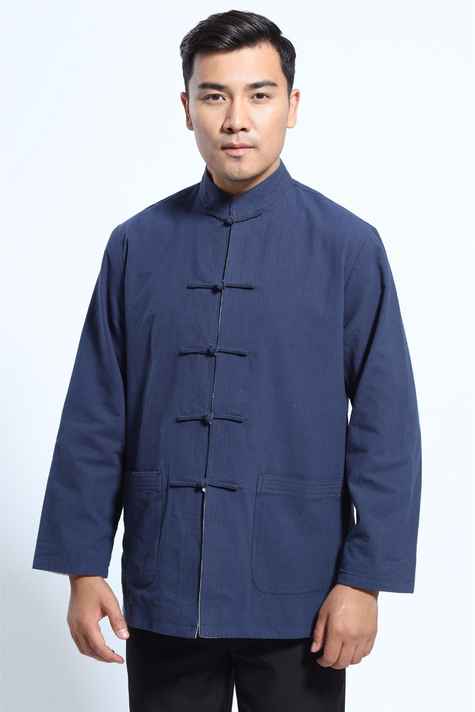Shanghai Story Long Sleeve Shirt Chinese Traditional Clothing Blend Linen Tang Suit Mandarin Collar Reversible Jacket 2 Color