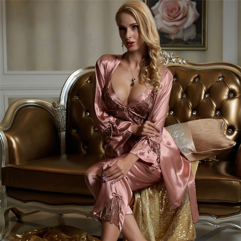 Xifenni   Pajama     Sets   Female Faux Silk Sleepwear Women Sexy Satin SILK Pyjamas Three-Piece Sexy Lace Home Clothing 1531