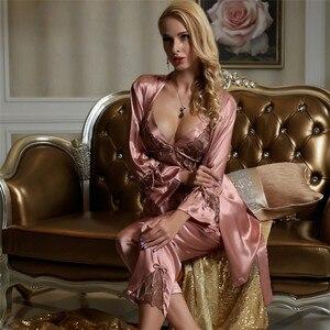 Image 3 - Xifenni pyjama simili pyjama en soie en Satin pour femme, ensemble trois pièces, Sexy, dentelle, vêtements pour la maison, vêtements de nuit en soie