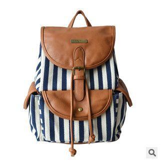 ФОТО 2017 new European style striped canvas women's backpack girl's school bag preppy women satchel