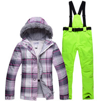 Cheap Winter Costumes Women Ski Suit Set Outdoor Ski Sports Suits Thermal Hair Hat Jacket + Women's Clothing Pants