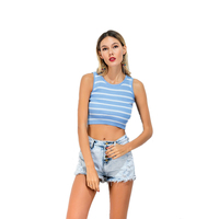 2017 New Fashion Striped Crop Tops Summer Casual Blue O Neck Tanks Sexy Sleeveless Stretch Vests