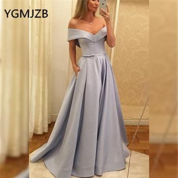 abendkleider 2019 Simple Evening Dresses with Pockets A-Line Off Shoulder V Neck Prom Gown Saudi Arabic Women Formal Party Dress