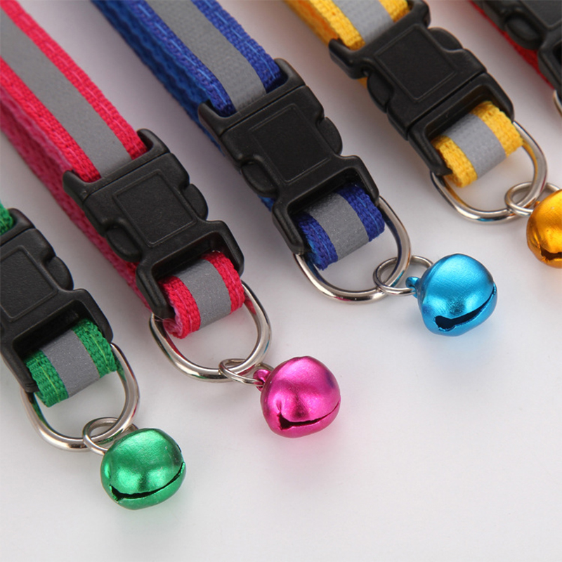 Hot Cute Dog Collar Buckle Bell Strap Adjustable Strap Night Glossy Reflective Safety Pet Collar #4
