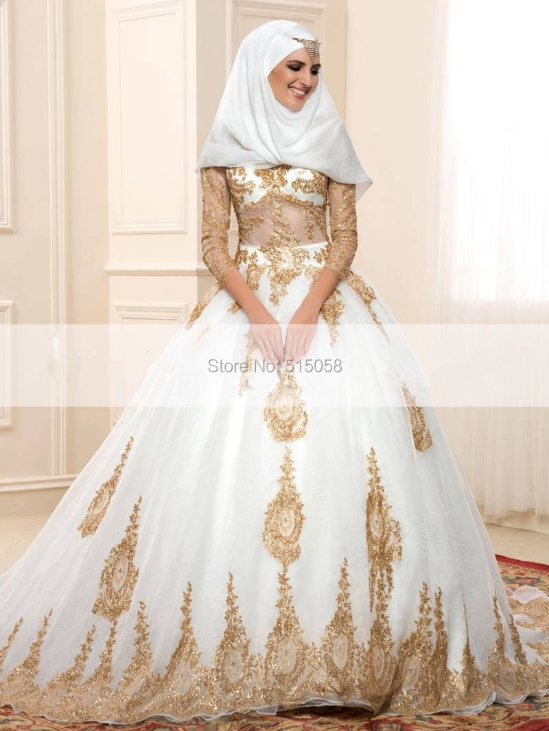 Gold lace appliques long sleeves ball gowns wedding dress for Long sleeve dresses to wear to a wedding