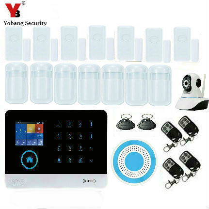 YobangSecurity APP Control WIFI GSM Home Security Alarm Touch Screen Burglar Security Alarm System with IP Camera Wireless Siren yobangsecurity 2016 wifi gsm gprs home security alarm system with ip camera app control wired siren pir door alarm sensor