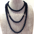 Classic 165cm Long 10-11mm Potato Nearround Black Freshwater Pearl Jewelry Sweater Necklace.