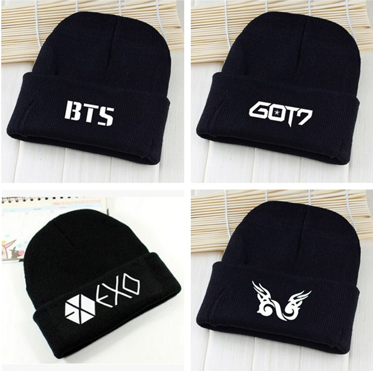 Kpop exo bts got7 vixx infinito ganador gorro de lana de cobertura sombreros bts k-pop Bangtan chicos pareja coreana gorros Stoc