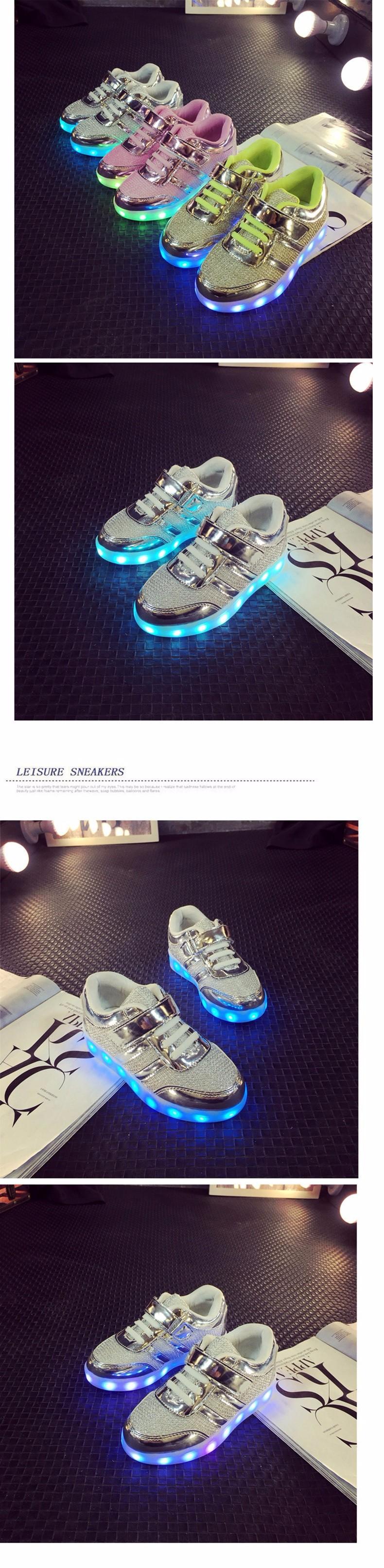 Kid USB Charging LED Light Shoes Soft Net Casual Boy Girl Luminous Sneakers Antiskid Bottom Children Shoes Tenis Led Infantil (2)