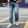 2016 jeans de moda hombres diseñador impreso baggy hip hop jeans para hombre marca famosa pantalones masculinos pantalones de mezclilla recta a021