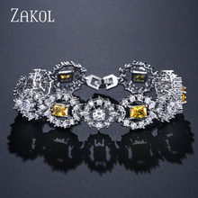 ZAKOL Luxury Flower Chain Link Bracelet for Women Ladies Shining AAA Cubic Zircon Crystal Jewelry Gift FSBP2023(China)