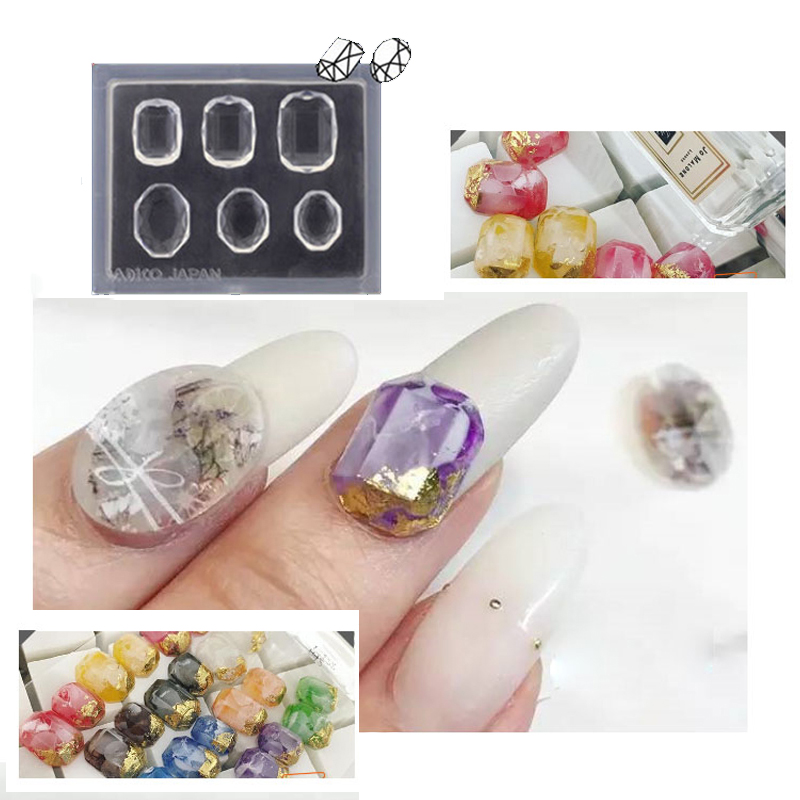 3D Akryl Nail Art Template Skåret Mold Set 8 Designs Gemstone Heart - Manikyr
