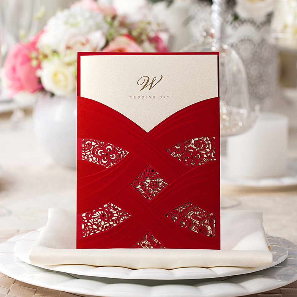 1pcs Sample Elegant Laser Cut Wedding Invitations Card Baby Shower ...