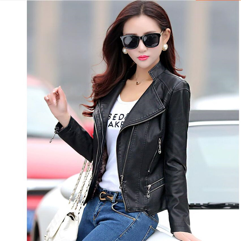 2018 Womens Stand Collar Short Design Genuine Leather Coat Female Jacket Womens -9701