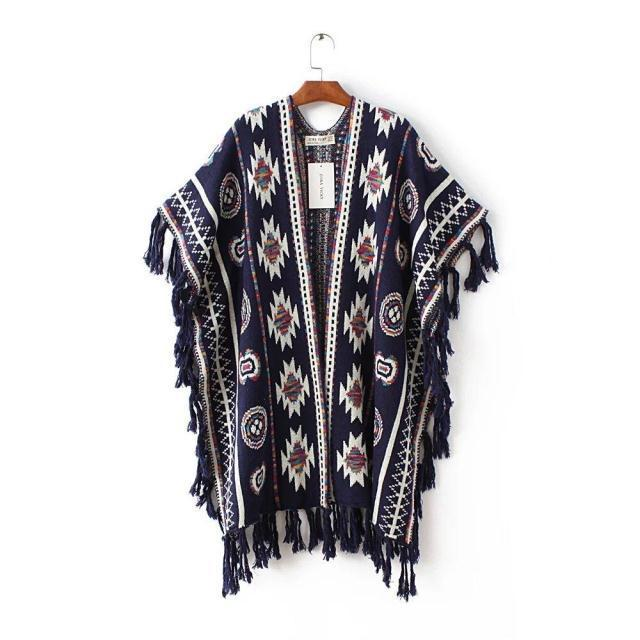 NiceMix 2019 Autumn Tassel Cardigan Women Cape Long Poncho Sweater Casual Coats Plus Size Vintage Female Knitted Cardigans in Cardigans from Women 39 s Clothing