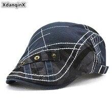 XdanqinX Camouflage Hat Mens Cotton Beret Color Stitching Hip Hop Cap Adjustable Size Men Tongue 2019 New Fashion Dads