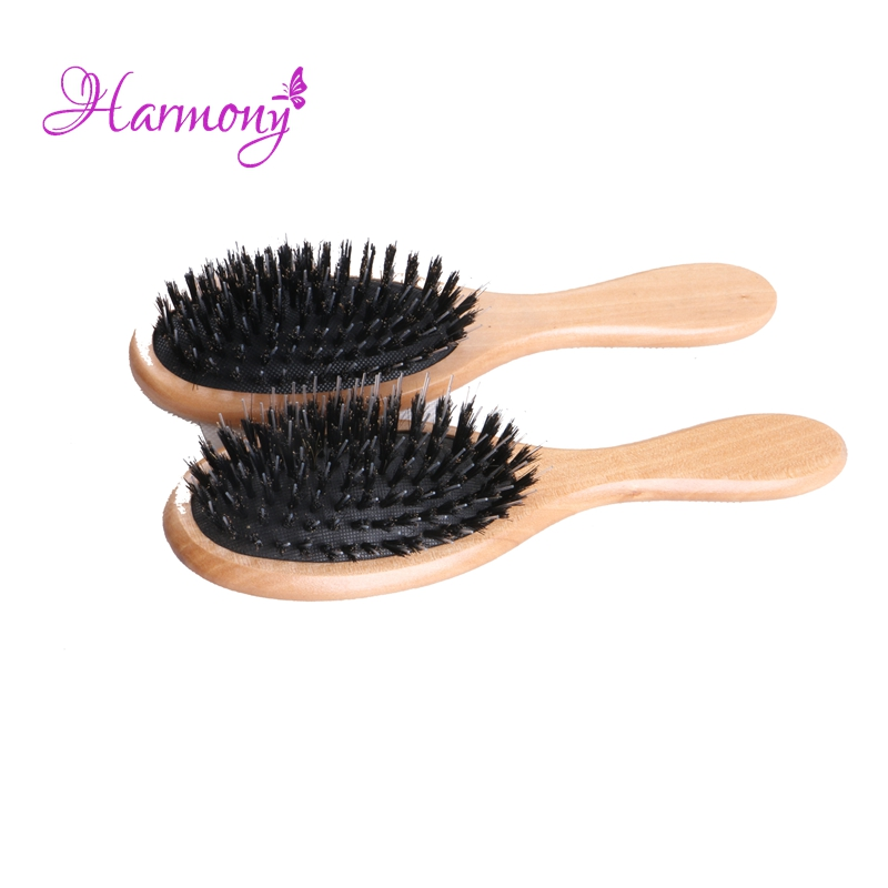 50pcs / lot Professional Natural Larn Træhåndtag Boar Bristle Mix Nylon Hair Extensions Børste til Salon Brug Værktøj