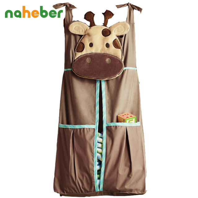 Naheber Baby Bed Hanging Storage Bag Cotton Newborn Crib Organizer Toy Diaper Pocket for Crib Bedding Set Accessories