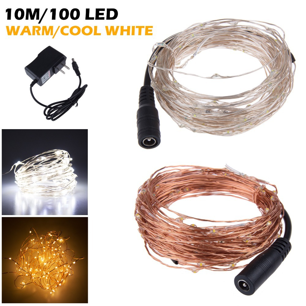 10m 100 Led Outdoor Fairy Lights Cold Warm White Copper Wire How To Light Starry Dc 12v String Christmas Decoration In From