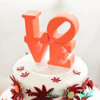 5 Inches Wide Wedding Cake Topper Love Wedding Cake Topper Custom Color Made To Order