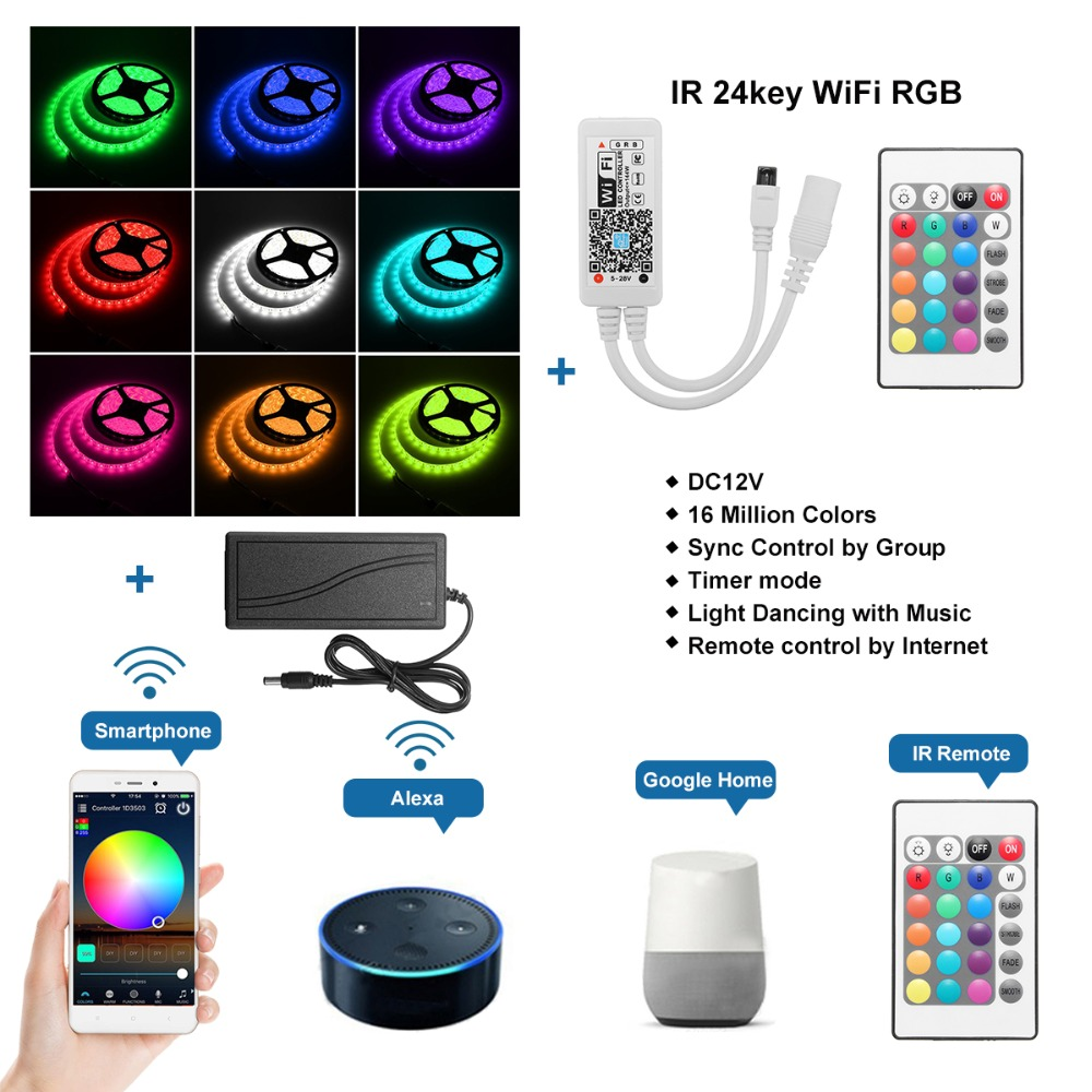 Smuxi 5050 5M/16.4Ft Smart Wifi RGB 300 Waterproof LED Strip Lights Intelligent Controller For Alexa Google Home IR AU