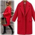 Mulheres Casaco De Lã Com Quilting Longo Peacoats Lã casacos De Lã De Inverno Vermelho Preto Moda Casual Plus Size