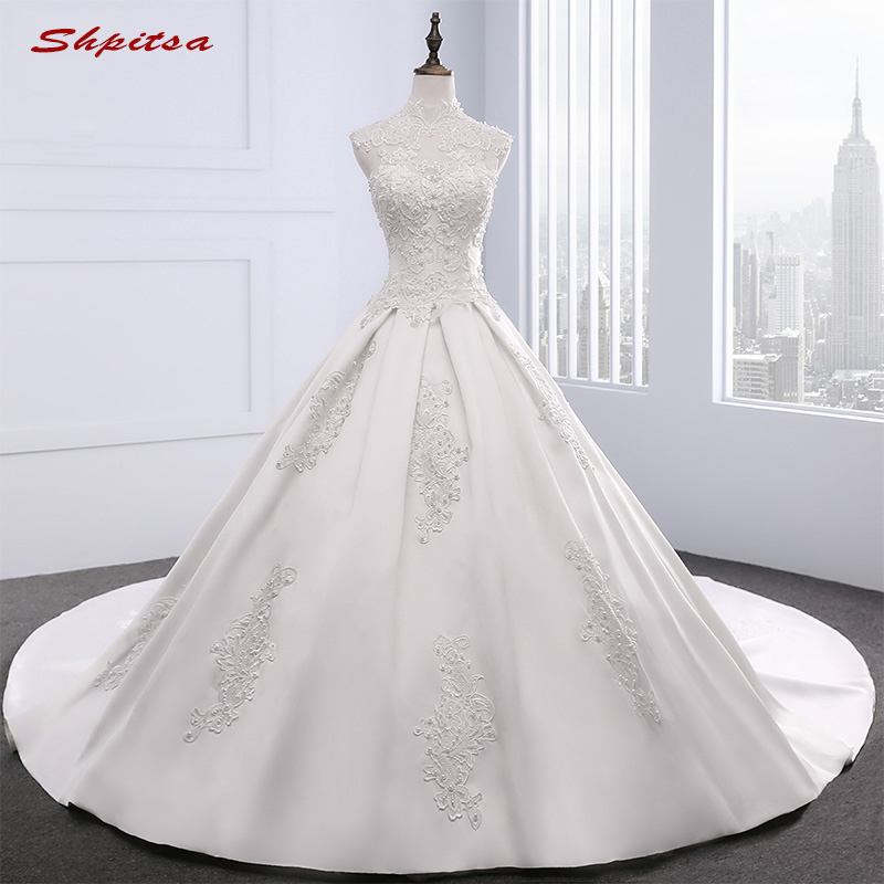Lace Wedding Dresses 2017 Ball Gown High Neck Beaded