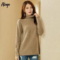 100% органический кашемировый свитер с воротником стойкой для женщин демисезонный стилей одежда с длинным рукавом женский белый свитеры для