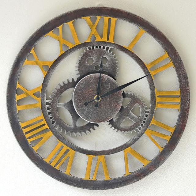 14 Inch Silent Gear Wooden Wall Clock Designs Round Vintage Digital Clocks Kitchen Watch Mural