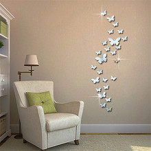 ФОТО 12pcs 3d mirror butterfly wall stickers decal wall art removable homer room party wedding silver diy