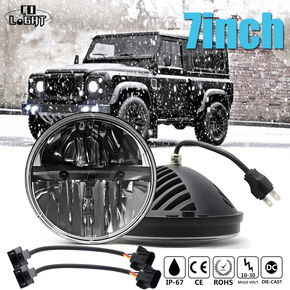 CO LIGHT 7 Inch 80W LED Headlight H4 H13 Hi/Lo Auto Driving Fog Light DRL For Jeep Lada Niva Offroad BMW 4x4 Hummer Car Styling gztophid wiring harness extension h4 9003 hb2 light connector male to female for socket headlight fog light drl light