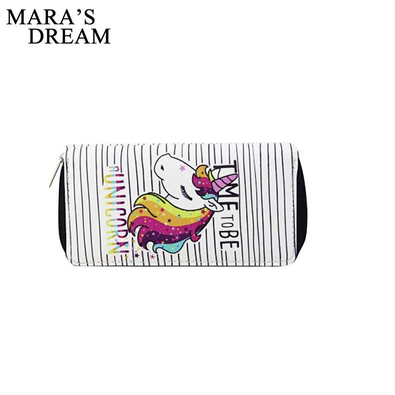 Maras Dream 2018 Cartoon Unicorn Women Long Wallet Clutch PU Zipper Coin Purse Card Holder Phone Bag Best Gift for Teenagers
