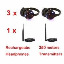 มืออาชีพ500เมตรระยะทางเงียบดิสโก้3 LEDหูฟังที่มี1 transmitter RFไร้สายสำหรับiPod MP3ดีเจเพลงp aryคลับตอบสนอง