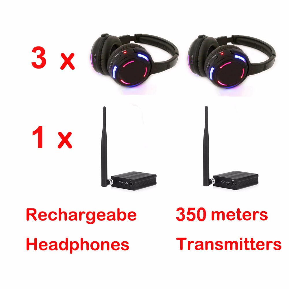 Professional 500m distance Silent Disco 3 LED Headphones with 1 transmitter RF Wireless For iPod MP3 DJ music pary club meet