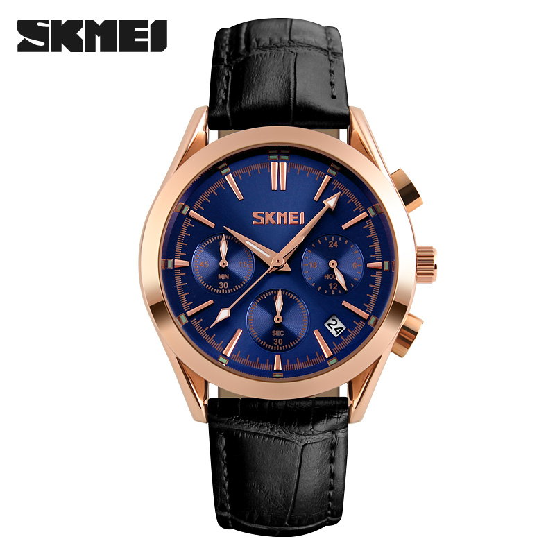 SKMEI  Men Quartz Wristwatches Fashion Casual Watch Leather Strap Complete Calendar Man Watches Auto Date Luxury Male Clock nary fashion watch leather strap men s watches quartz clock womens watch double calendar with date week lovers casual wristwatch