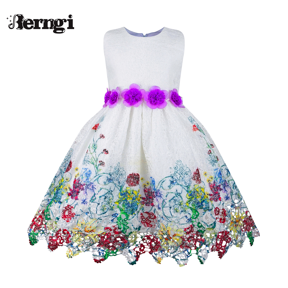 Berngi Princess New Girl Party Dresses Purple Sleeveless  Floral Birthday Party Girls Dresses Pure Cotton Kids Clothes