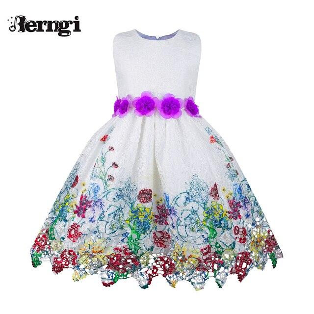 fdf2ddfdf Berngi princesa nueva party Girl Vestidos púrpura sin mangas fiesta de  cumpleaños floral Niñas Vestidos puro