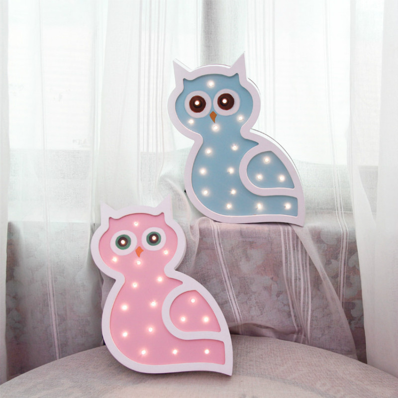 Owl Wood Light Baby Toy LED Night Light Desk Decoration Festival Wall Lamp Battery Powered Cartoon Owl Modeling LampIY304123-36