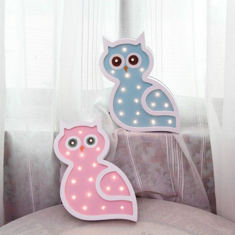 Owl Wood Light Baby Toy LED Night Light Desk Decoration Festival Wall Lamp Battery Powered Cartoon Owl Modeling LampIY304123-36