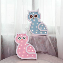 Owl Wood Light Baby Toy LED Night Desk Decoration Festival Wall Lamp Battery Powered Cartoon Modeling LampIY304123-36
