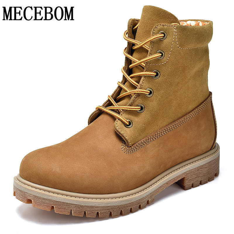 Men's yellow work boots new winter genuine leather