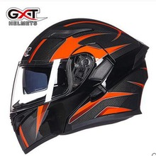 GXT flip up casco de moto Con Visera Interior Seguridad Doble Lente Racing Cascos Integrales puede poner auricular bluetooth